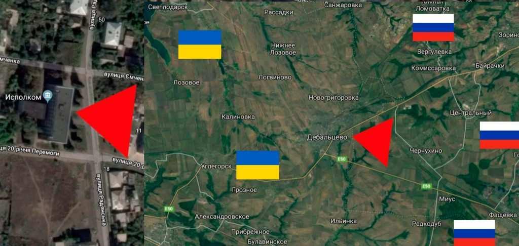 Карта обстрела Дебальцево