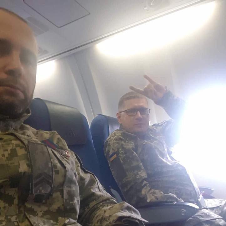 Ветераны украино-российской войны в самолете