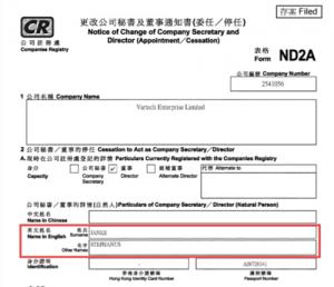 Гонконгська анкета реєстрації підприємства Vartech Enterprise Ltd. зі Стефанусом Янке в якості директора.