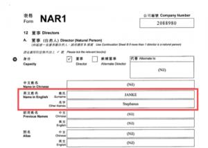 Гонконгська анкета реєстрації підприємства Grecol Ltd. зі Стефанусом Янке в якості директора.